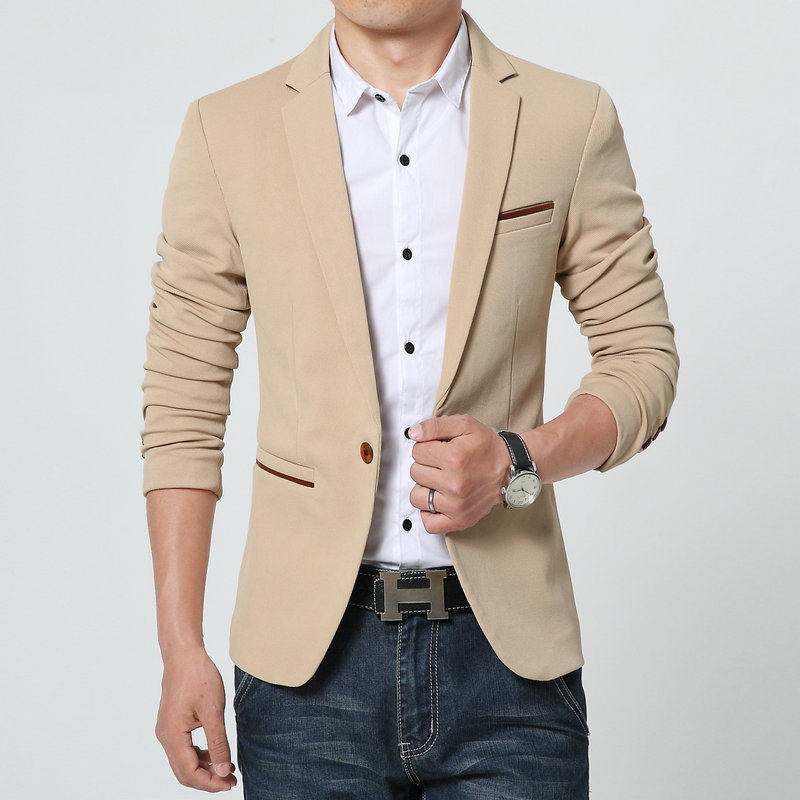 2015 Luxury Brand Leather Blazer Men Single Breasted