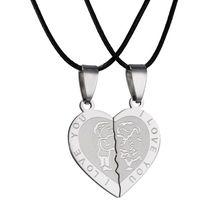 Collar de acero inoxidable para hombre y mujer, colgante con corazón I Love You, regalo de San Valentín