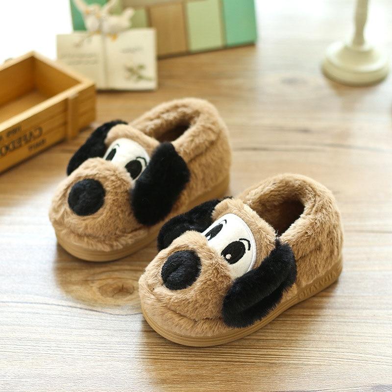 Lovely Cartoon Dog Design Children Shoes Winter Warm Indoor Slippers Soft Unisex Boys Girls Home Footwear