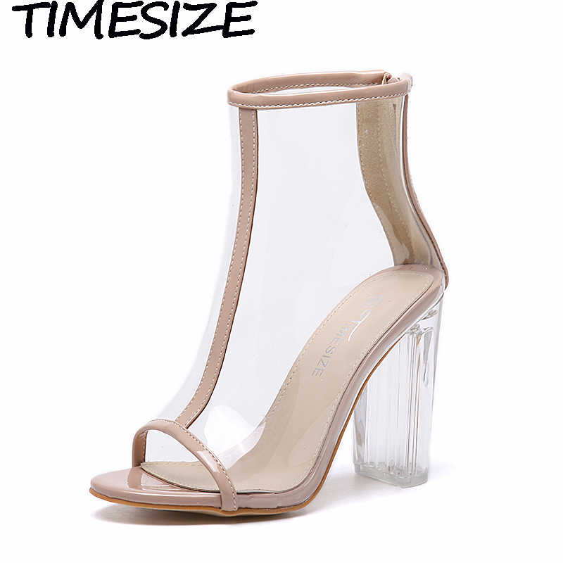 TIMESIZE Women Clear Heel Transparent Boots Peep Toe Ankle Boots Bootie Perspex Lucite Summer Shoes Sandals Block Heel Pumps