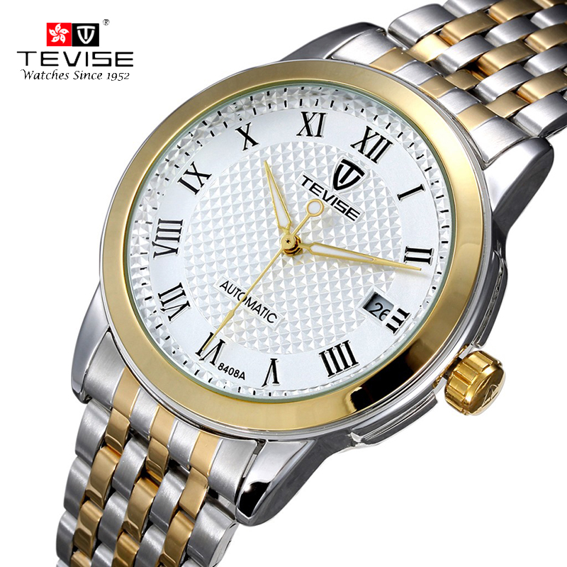 ФОТО 2017 Tevise Business Automatic Mechanical Watch Waterproof Luminous Calendar Stainless Steel Band Wristwatches Men Fashion Gift