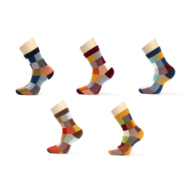 5 Pairs Combed Cotton Men's Dress Socks 2