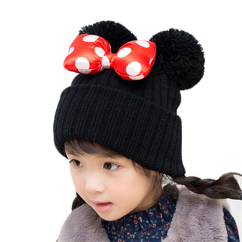 Children's Big Bow Knot Hat Caps Autumn And Winter Baby Double Ball Knitted Hats For Girls New Fashion Warm Outdoor Beanies Cap 4pcs new for ball uff bes m18mg noc80b s04g