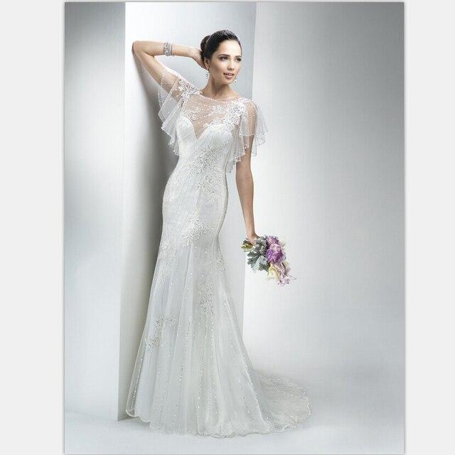 2aa9597406b80 Mermaid Wedding Dress Illusion Back Luxury Crystal Vestidos Batwing Sleeves  Organza White Mermaid Wedding Dress Vestido De Festo