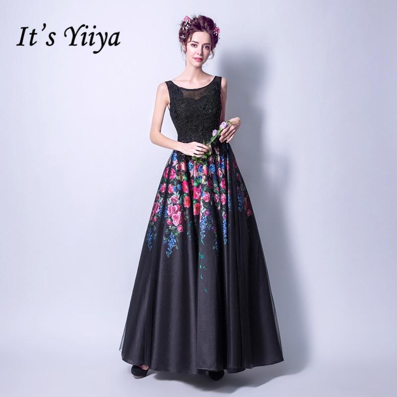It's YiiYa Sleeveless Black Fashion Designer   Prom   Gown Simple Flower Pattern Elegant   Prom     Dresses   Evening   Dress   LX205