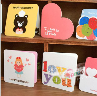 2PC/lot Size:9x8cm NEW universal mini greeting card with envelope Birthday cards MIX designs Wholesale (SS-5980)