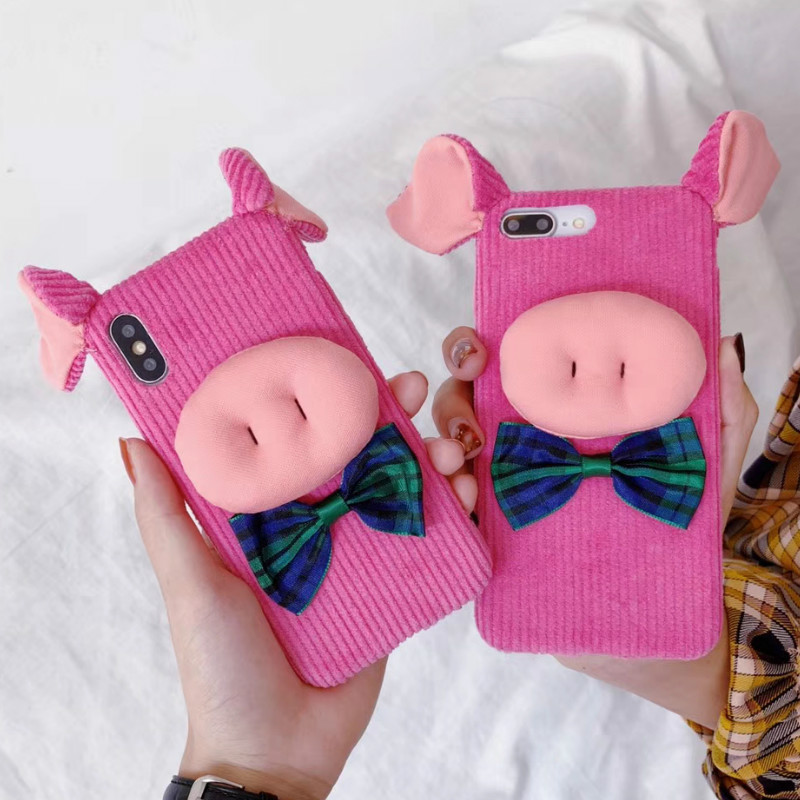 Cute Pink Piggy phone cases For iphone Xs max case For iphone 8 case For iphone XR X Xs 6S 6 7 8 Plus Girls luxury iphone case
