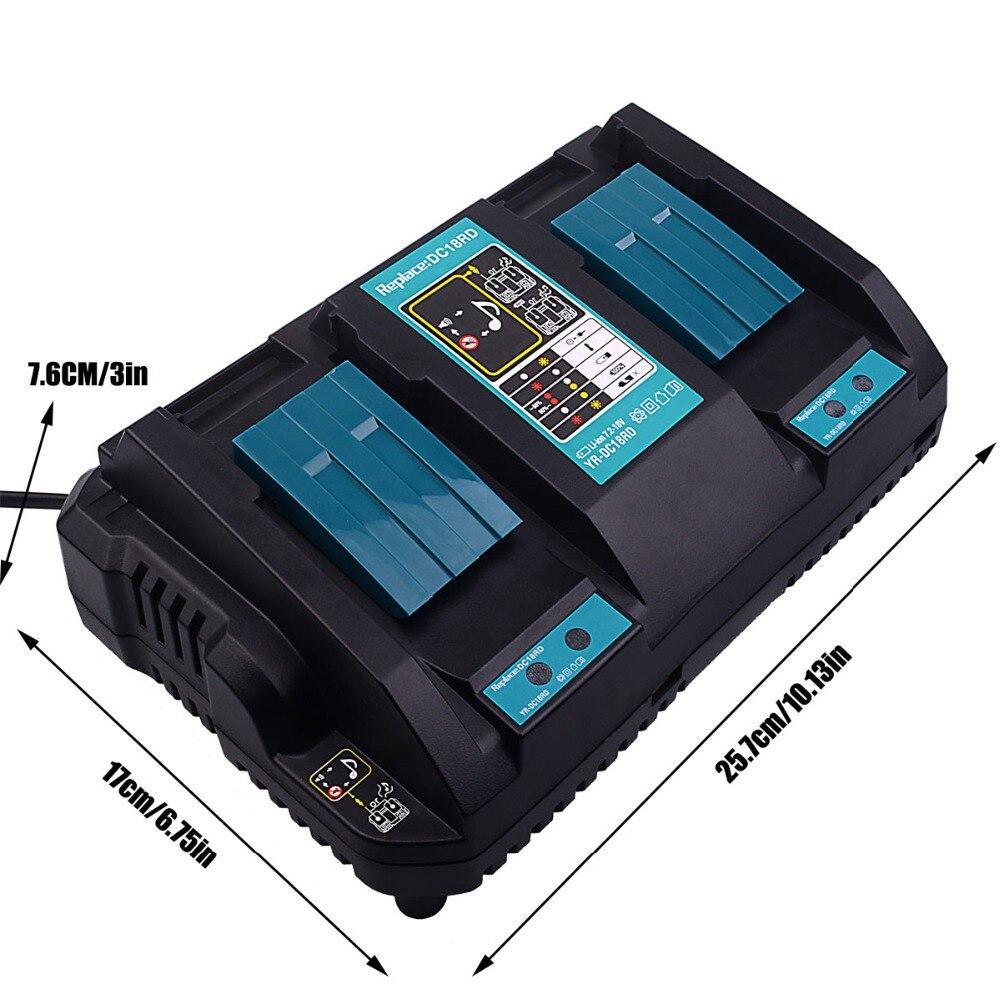 Tüketici Elektroniği'ten Şarj Cihazları'de DC18RD Hızlı Şarj Yedek Güç Aracı Li ion Şarj Cihazı 4A 7.2 V 18 V Makita Güç Aracı Pil için DC18RA DC18RC USB Portu ile title=