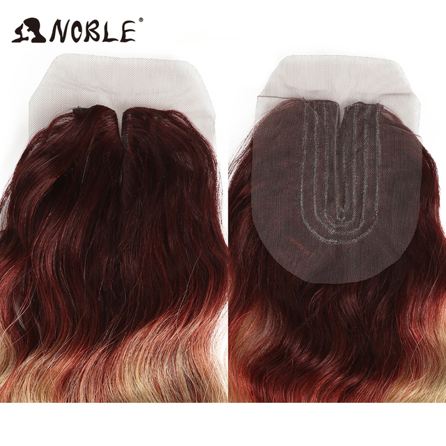 Noble Synthetic Hair With Closure Loose Wave 16-20Inch 613 Bundles With Closure Middle Part Lace Front Ombre Hair Bundles