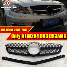 Only fit W204 C63 C63AMG ABS black Sport Front grill Grille C class C180 C200 C250 C300 350 Look Front Grille Without Sign 08-11 only fits for mercedesmb w204 c63amg look grille grills c class c63 c63amg style abs black front grills without sign 2008 2011