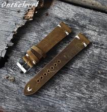 Onthelevel Handmade Retro Genuine Leather Watch Band Strap 18mm 20mm 22mm Man Women Wrist Watchbands Belt Silver Polished Buckle цены