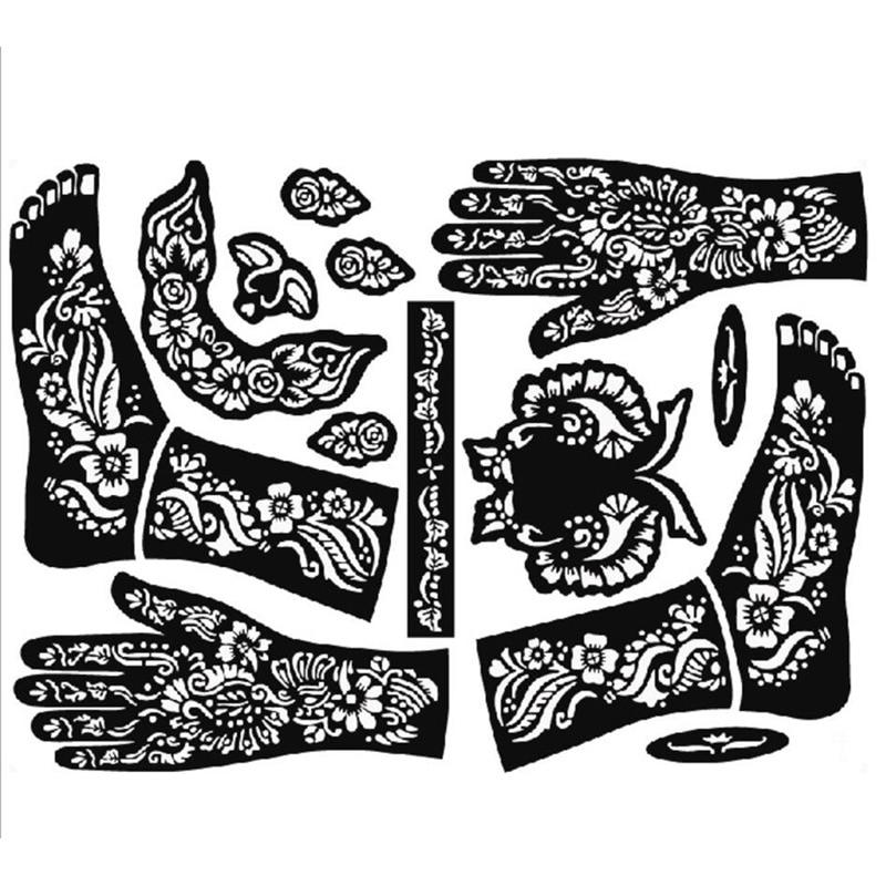 1 Blatt Henna Tattoo Vorlagen Hände Füße Bein Arm Airbrush Tätowierung Vorlagen Professional Temporäre Körper Malerei