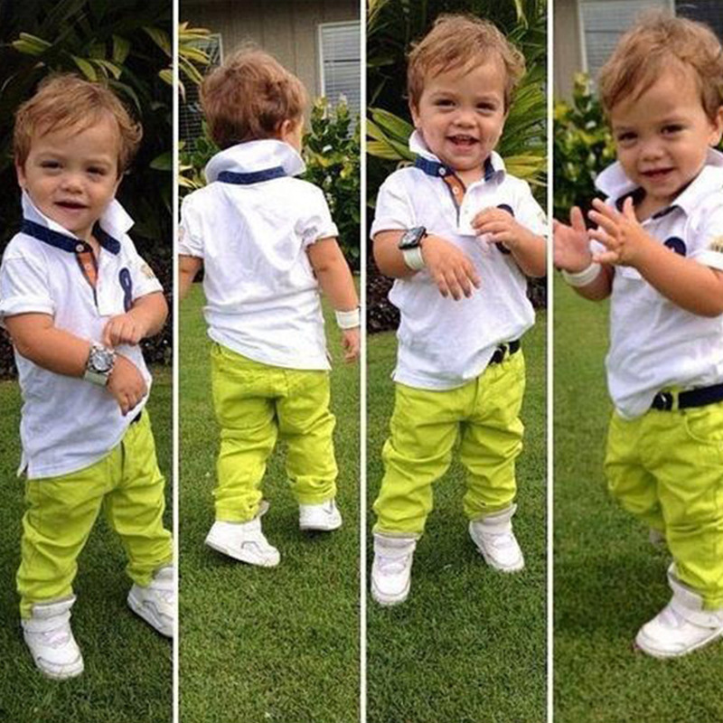 Fashion child set male child turn-down collar short-sleeve T-shirt candy color trousers twinset T shirt + pants,no belt
