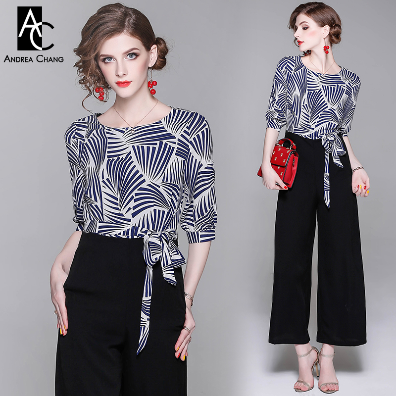 23ffe3e6c6 Aliexpress.com   Buy summer spring woman jumpsuit white blue geometric  pattern print top black bottom long jumpsuit with sash fashion office  jumpsuit from ...