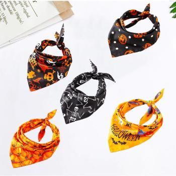 5PCS/Set Halloween Dog Triangular Bandage Pet Saliva Towel Dog Scarf Skull Pumpkin Print Bandanas for Halloween Party Decor 20E 1