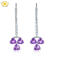 Hutang 3 04ct Natural Amethyst Flower Dangle Earrings Solid 925 Sterling Silver Gemstone Fine Jewelry Earring