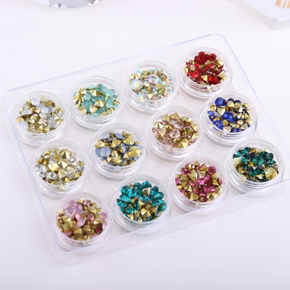 12 Boxes In 1  AB Color Opal Nail Rhinestone Set Sharp Bottom Multi-size Crystal Manicure For 3D Nail Art Decoration Rhinestone