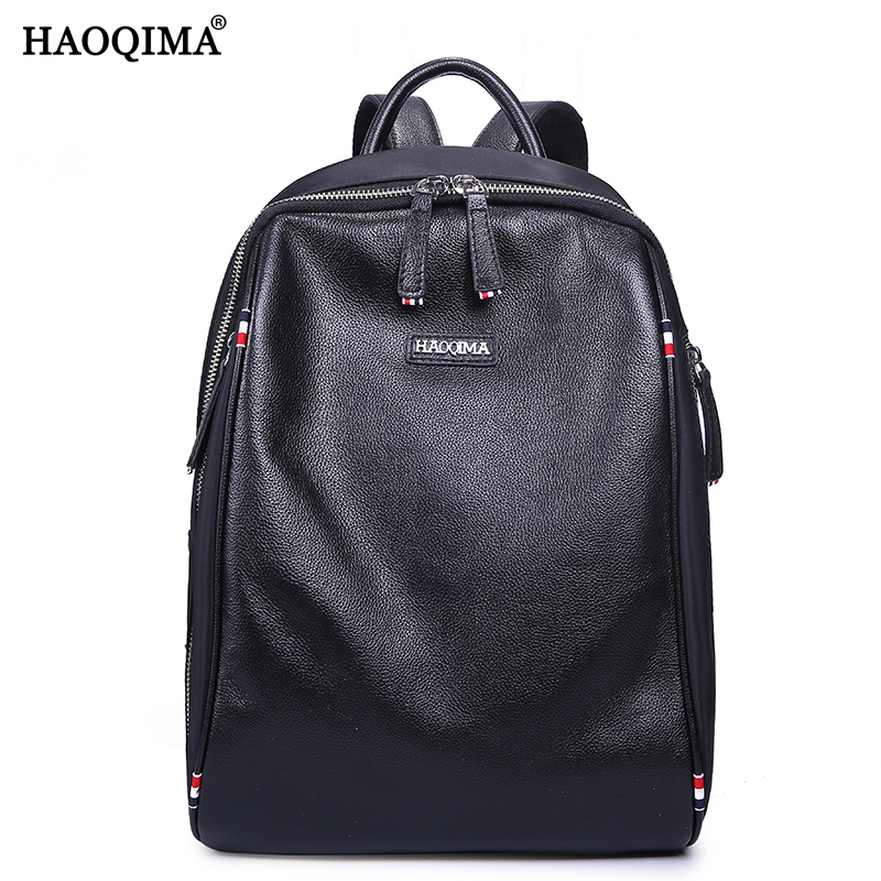HAOQIMA Girls Genuine Leather Oxford Cloth Real Backpacks Women Backpack Light Weight Top Layer Cow Leather School Bag zency genuine leather backpacks female girls women backpack top layer cowhide school bag gray black pink purple black color