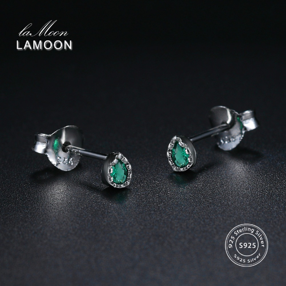LAMOON Stud Earrings For Women 100% Real S925 Sterling Silver Water Drop Multicolor Fine Jewelry Girl Gift Aretes EY195 EY196