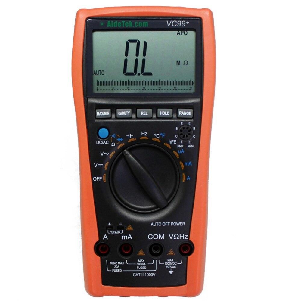 AideTek New VC99+ 5999 Auto range multimeter DC AC V A tester R C analog bar vs Free shipping