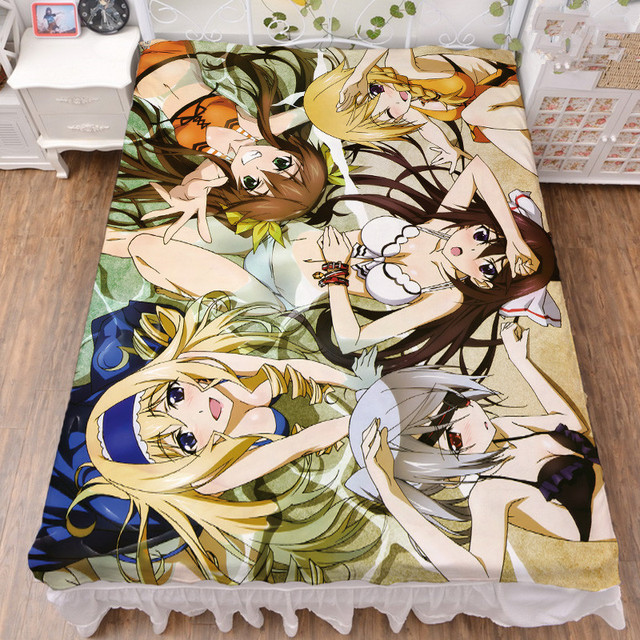 Japan Anime Infinite Stratos Sexy Girl Houki Cecilia Alcott Huang Lingyin Shinonono Bed Sheet Blanket