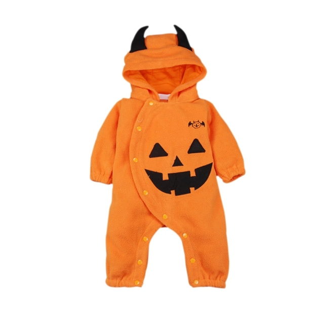 boys girls winter clothes newborn orange pumpkin clothing fleece baby romper halloween costumes