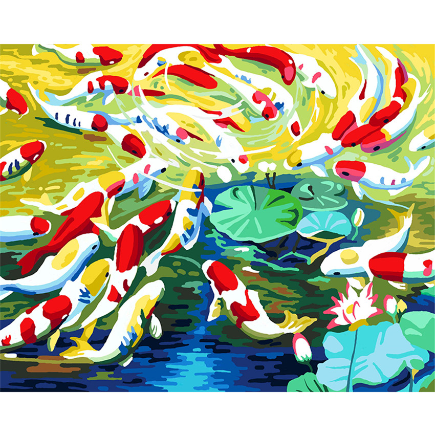 Diy Digital Painting By Numbers Package Koi Pond Oil Mural Kits Coloring Wall Art Picture Gift Frameless In Paint Number From Home Garden On