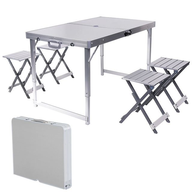 Umbrella Hole Aluminum Alloy Portable Outdoor Folding Picnic Table With 4 Seats For Garden Camping