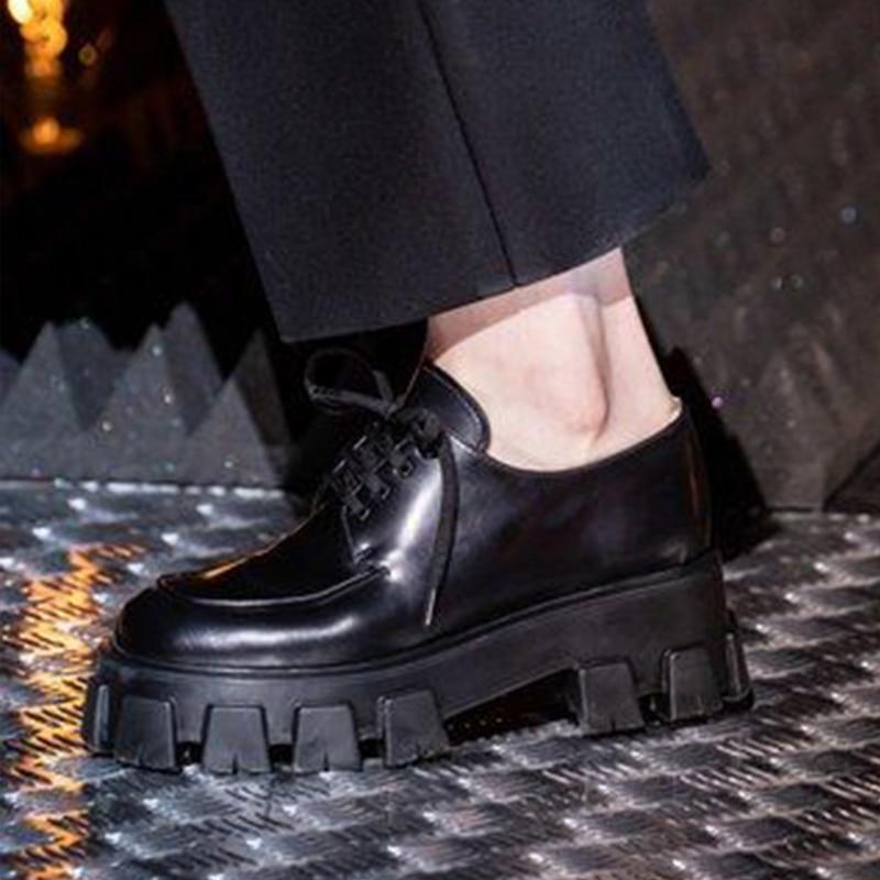 Ridged Sole Platform Derby Shoes Black