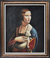 Handmade Famous Artist Artwork Reproduction Lady with an Ermine Women Portrail Painting on Canvas for Living Room Wall Decor