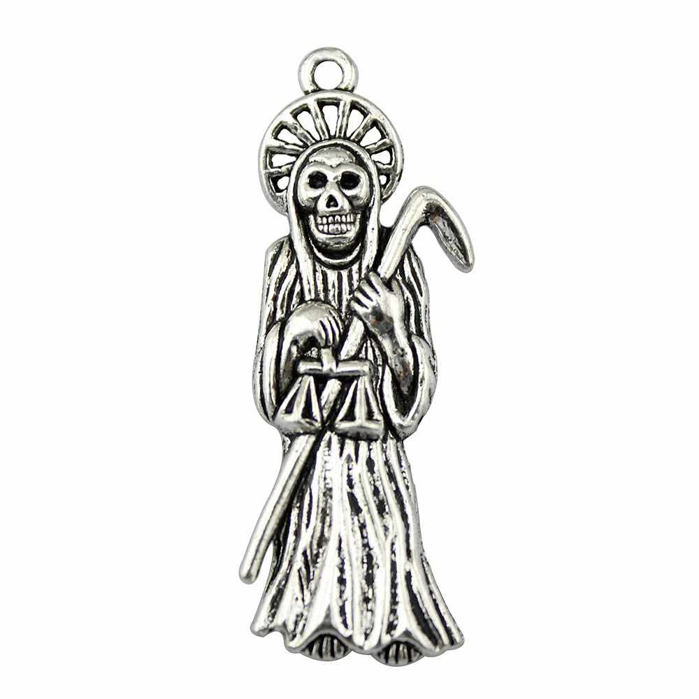 WYSIWYG 4pcs 51x19mm Skull Death Grim Reaper Charm Antique Silver Color Death Charm Grim Reaper Pendant