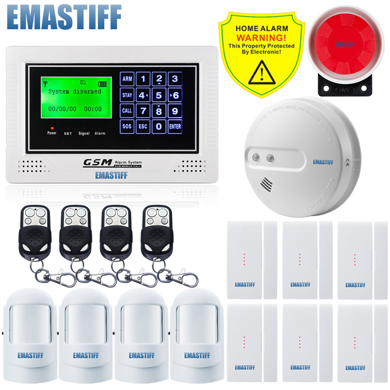 New arrival!Android APP Keypad+LCD Display Screen Wireless NEW Fire Smoke sensor GSM SMS Home Security Burglar House Alarm good quality sms gsm security alarm with voice in 7 languages touch keypad app controlled burglar alarm system with new sensor