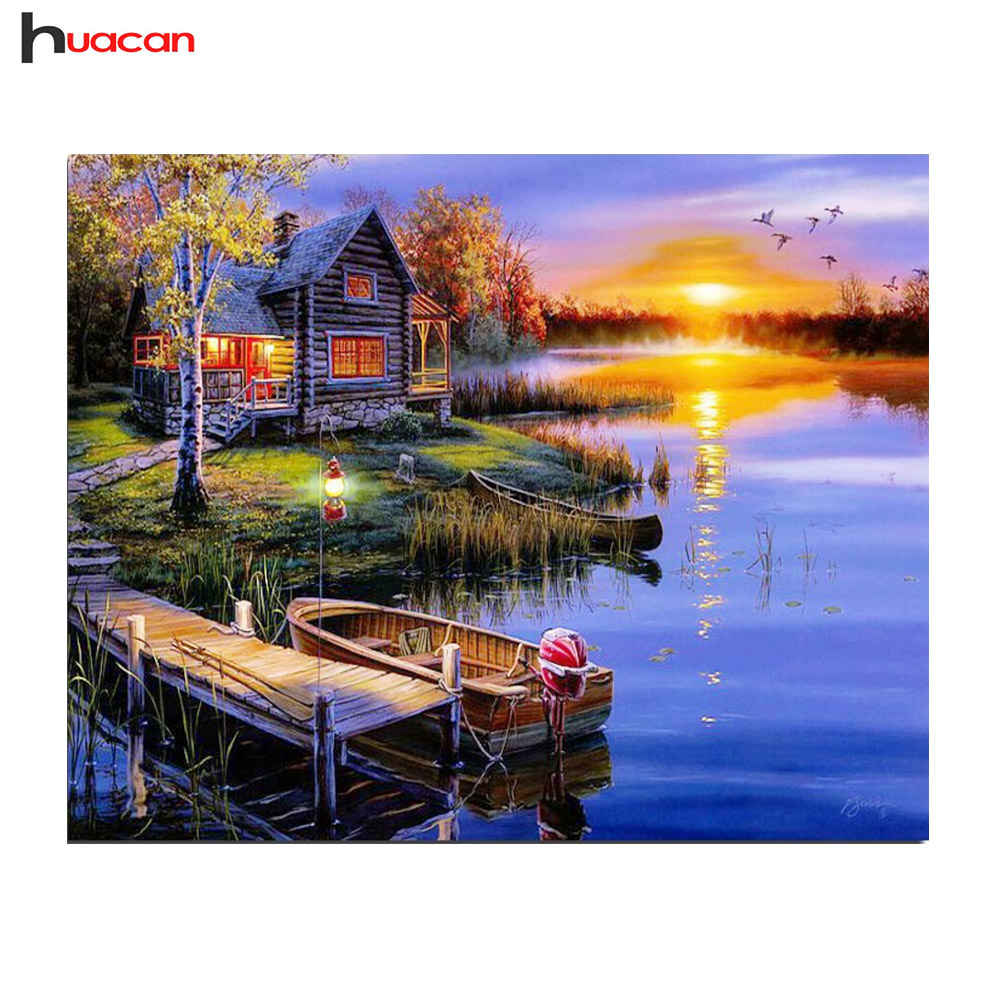 HUACAN 5D DIY Diamond Painting Landscape Boat&River Full Round Rhinestones Crystal Needlework for Decoration of Living Room