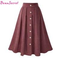 Daim Jupe Femmes Taille Haute Long Tutu Jupes Hiver Femmes de Jupe Coréenne Plissée Faldas Noir Bleu Clair Rouge Vert