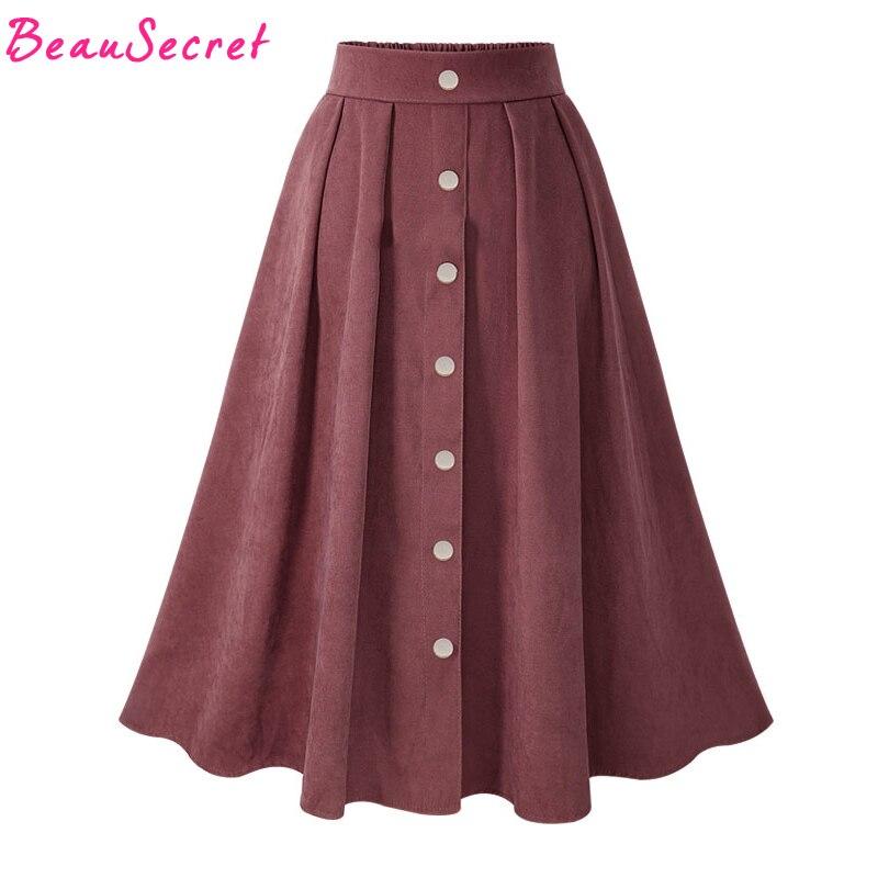 Suede Skirt Women High Waist Long Tutu Skirts Winter Women's Skirt Korean Pleated Faldas Black Light Blue Red Green