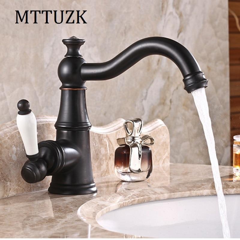 MTTUZK livraison gratuite 5 couleurs ORB pont monté en laiton avec diamant robinet de salle de bain poignée unique en céramique poignée banheiro torneira