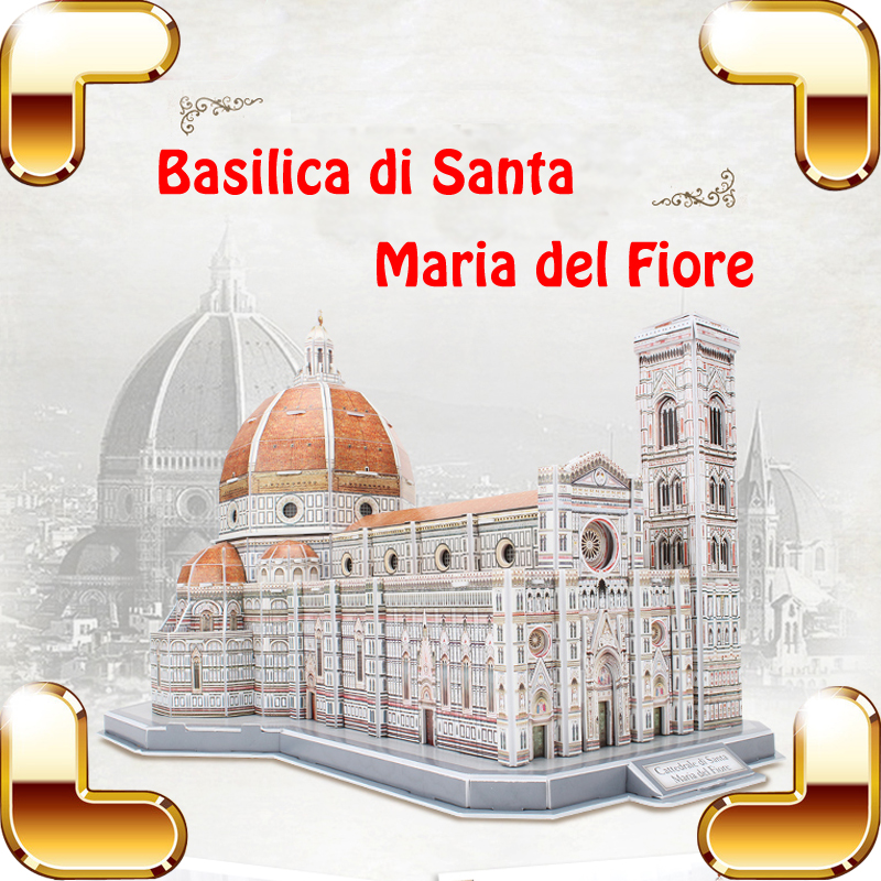 New Arrival Gift Santa Maria 3D Puzzles Model Church Building Structure DIY Assemble Game Learning Toys Training Tool