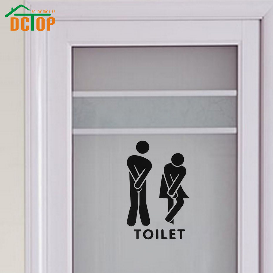 Buy funny toilet entrance sign decal wall for Diy hotel decor