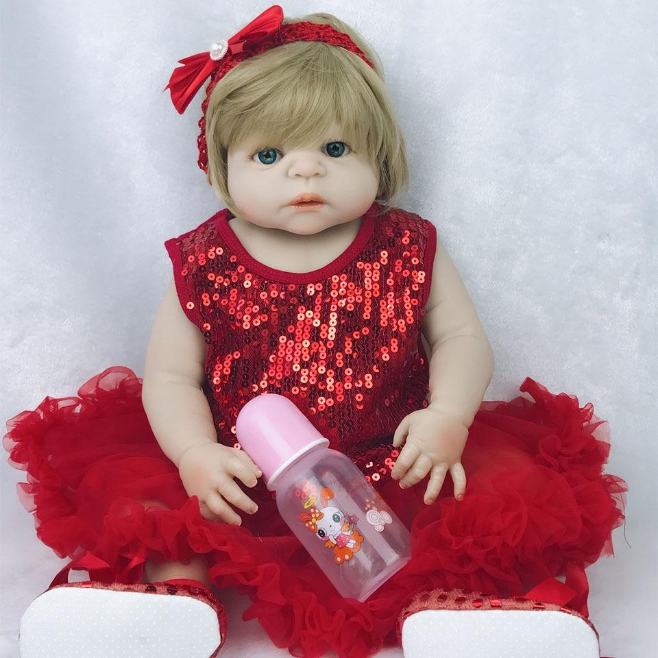 Lovely Real Like Baby Dolls Reborn 23'' Full Silicone Vinyl Reborn baby Doll Toys Realistic Lifelike Girl Wear Blink Red Dress