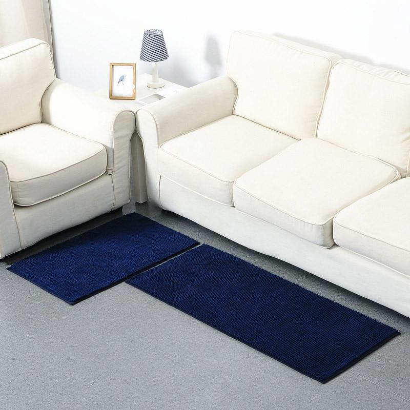 Tapis de couleur unie salle de bains cuisine absorbant tapis anti-dérapant salon canapé tapis deux pièces court en peluche Chenille tapis