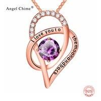 925 Sterling Silver I Love You To The Moon And Back Viola di Cristallo Oro Rosa Cuore Ciondoli Collane Per Le Donne