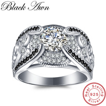 [BLACK AWN] 5.4Gram Genuine 925 Sterling Silver Jewelry Anelli per le donne Black & White Stone Femme Bague C321