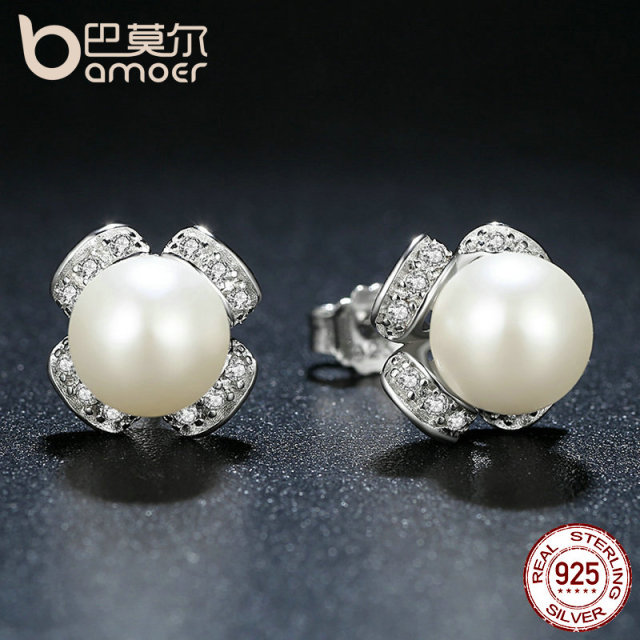 Sterling Silver White Pearl Small Stud Earrings