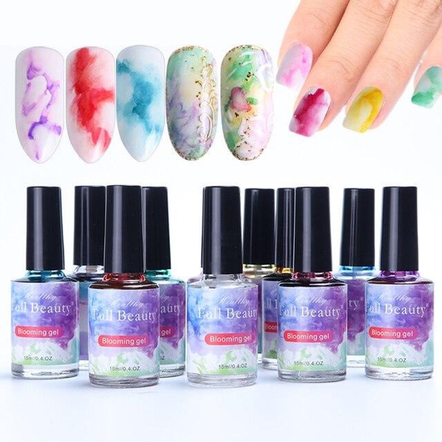 12 Bottle Gel Nail Polish Blooming Flowers Watercolor Smoke Ink Gel  Gradient Marble Painting Varnish Nail Designs Set TR895 1