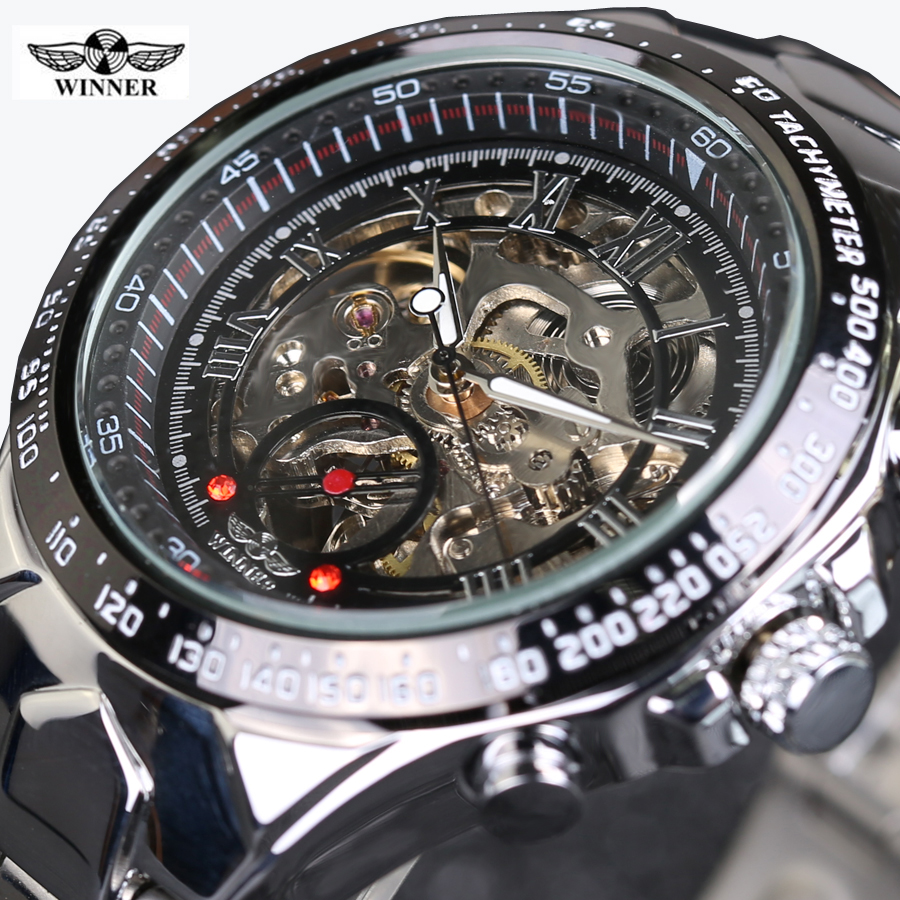 все цены на Mens Watches Top Brand Luxury Clock Men Automatic Skeleton Watch Montre Homme Winner New Number Sport Design Bezel Golden Watch в интернете