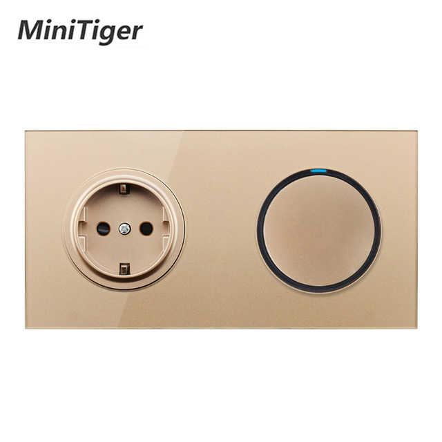 Minitiger White Crystal Glass Panel 16A EU Russia Standard Wall Power Socket 1 Gang 1 Way On / Off Light Switch LED Indicator