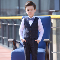 Dollplus Toddler Boys Suits Wedding Formal Children Suit Tuxedo Dress Party Costumes Shirt Vest Pants 3pcs Sets