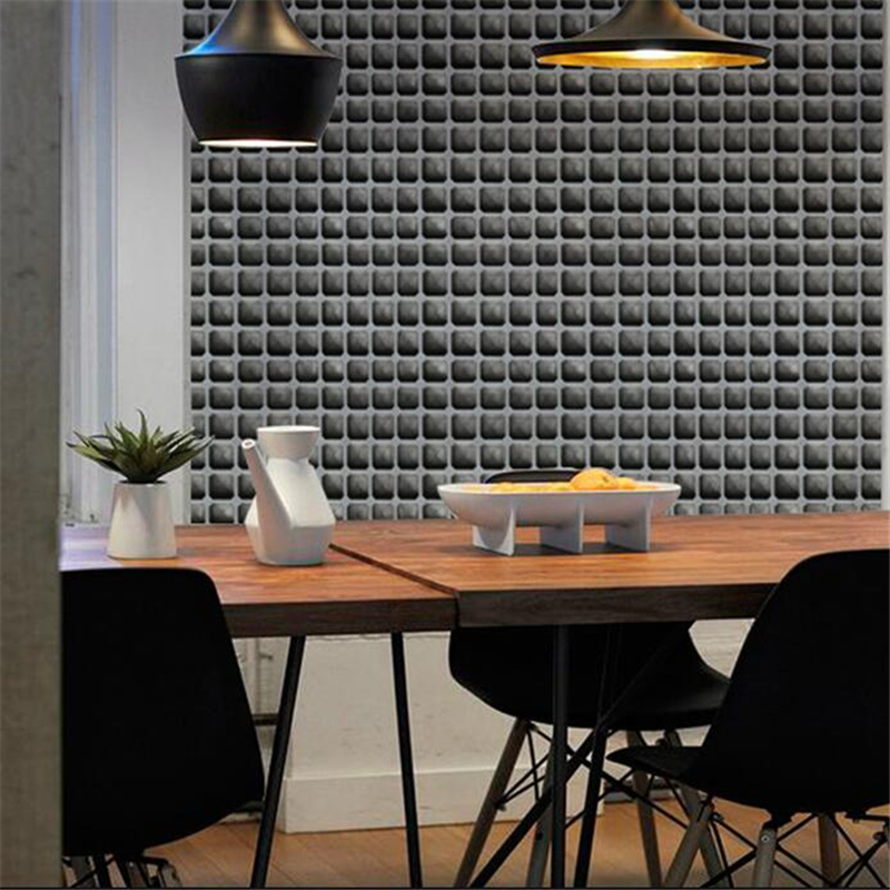 Beibehang papel de parede 3D solide ciment gris mosaïque treillis papier peint magasin de vêtements salon de thé restaurant café nordique papier peint