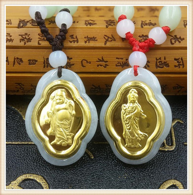 Lover style natural jadeite inlaid with gold guanyin Buddha pendant necklace childrens jewelry for men and womenLover style natural jadeite inlaid with gold guanyin Buddha pendant necklace childrens jewelry for men and women