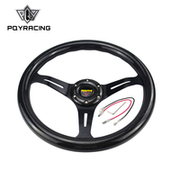 PQY RACING NEW 14 Inch 350mm Carbon Fiber MOMO Style Steering Wheel Automobile Race Modified PQY